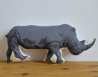 SALE - Silkscreen Rhino Pillow