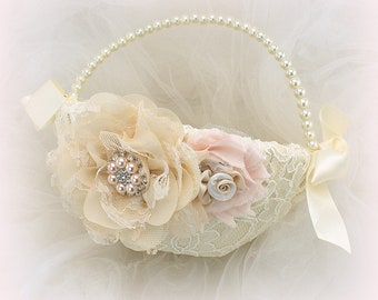 Champagne Wedding Girl Basket, Blush, Ivory, Flower Girl Basket, Blush Lace Wedding Basket, Vintage Style Basket
