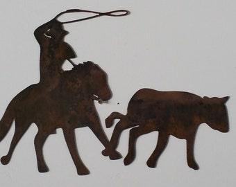 Roper with steer metal art, western metal art, roper metal art, western home decor, cowboy metal art, cowboy home decor