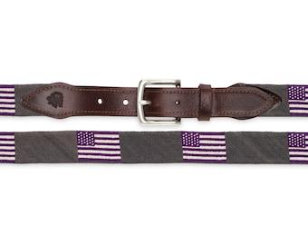 Custom American Flag Belt Needlepoint / Social Enterprise / Charity Business / Needlepoint Belts / Hand Stitched Belts / Custom Belts