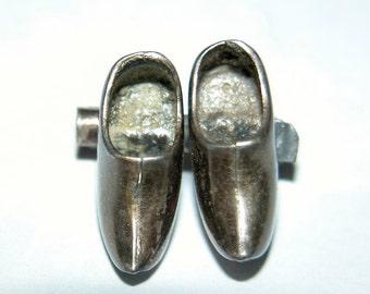 SALE Silver Dutch Clogs Lapel Pin Miniature Dutch Shoes Sterling Brooch Adorable Petite Unisex Silver Mini Dutch Shoes Souvenir Pin