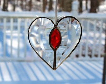 Beveled Stained Glass Heart, Red Jewel, Sun-catcher, Clear, Hand Crafted and Made in America