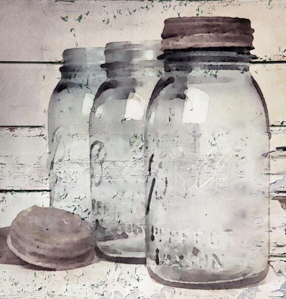 "Vintage Jars. Giclee Print by Irena Orlov 24x24"""