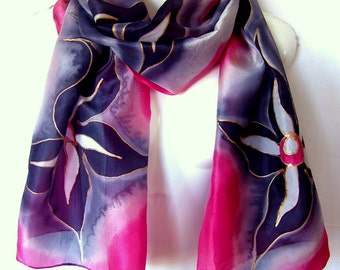 """Floral Silk Scarf, Hand Painted Silk Scarf, Red Black Gray, 71"""" x 18"""", Gift For Her"""