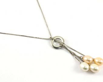 Vintage Lariat Style Pearl Necklace 925 Sterling Silver NC 479