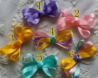 6 Handmade Satin Ribbon Bows ( 2-3/4 x 1.5 inch)  MY- 693-05 Ready To Ship