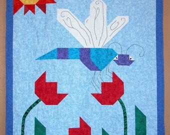"""Dragonfly baby quilt pattern 42"""" X 54"""" easy to make"""