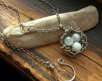 Bird nest necklace Rustic Robin's Nest necklace Sterling Silver nest necklace mothers day Beautiful for Mother's Day