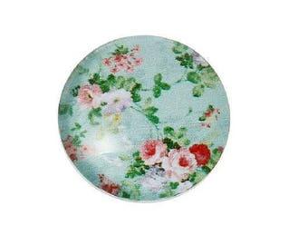 2 cabochon round 10 mm flower