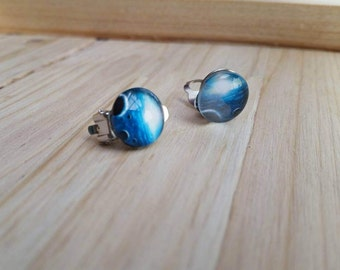 Blue Universe Cabochon Clip on Earrings - Womens Fashion Jewelry - Post Available