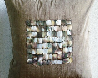 Pearl Paradise - Throw Pillow Covers - 20x20 Inches Silk Pillow Cover with Mother of Pearl