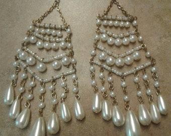 Pearl Style Dangle Earrings
