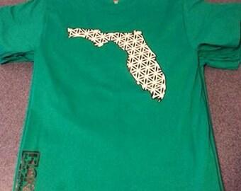 Green florida flower of life sacred geometry glow in the dark t shirt