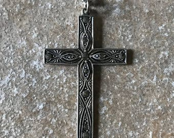 Sterling Marcasite Cross Pendant Chain, Sterling Silver Cross, Marcasite Pendant, Sterling Pendant Chain, 22 Inch Chain, Spring Ring Clasp