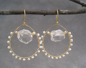 Gold Hoops - Pearl and Crystal Earrings - Wedding Jewelry - Wire Wrapped Hoops - Special Occasion
