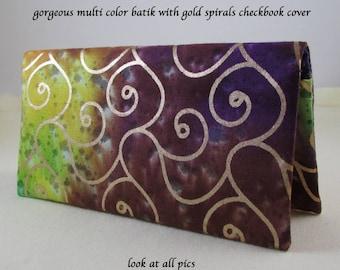 Multi Color 2 Checkbook Cover - Coupon Holder - Orange Purple Green Yellow Gold -  Rainbow Check Book Cover - Checkbook Gift Idea