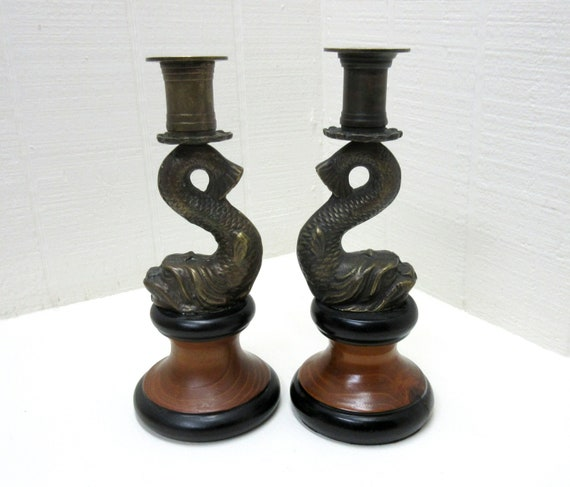 Vintage Pair Of Brass KOI Fish Candlestick Holders With Wood Base Asian Decor Made In Korea