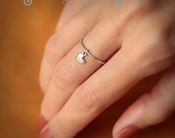 Heart Charm Ring - Love ring - heart ring - handmade - Sterling Silver 925 - Jewelry by Katstudio