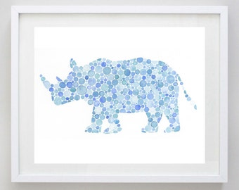 Rhino Watercolor Art Print in Blue Dots