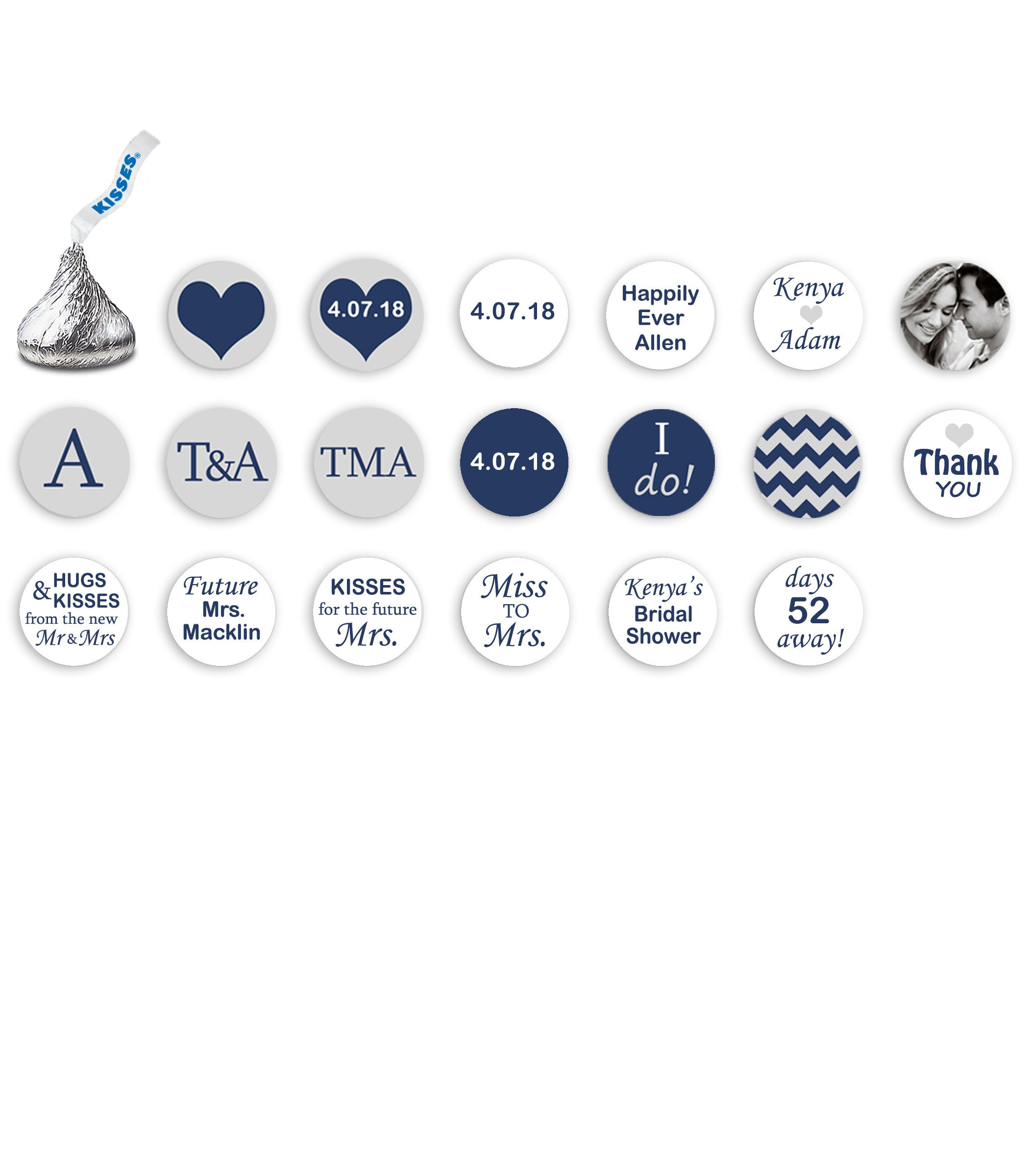 Bridal Shower Wedding NAVY Blue & GRAY Hershey Kiss Stickers ...
