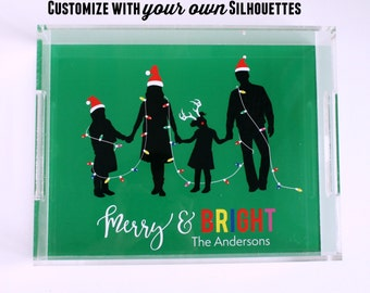 Custom Silhouette Portait Acrylic Trays - Personalized Lucite Tray - Customized with YOUR OWN Silhouettes Christmas Gift