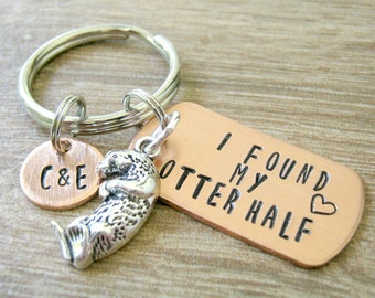 Personalized Otter keychain, I Found My Otter Half, optional disc with initials, anniversary gift, engagement gift, wedding gift, couples