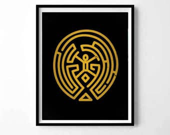 WestWorld Maze, WestWorld labyrinth, Westworld poster, Man in black, westworld gift, Live Without Limits, tv series print, halloween print