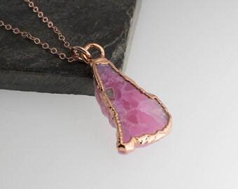 Rhodolite Rose Gold Necklace, Rose Gold Necklace, Handmade Necklace, Gemstone Necklace, Birthstone Necklace, Rough stone Necklace, Gift