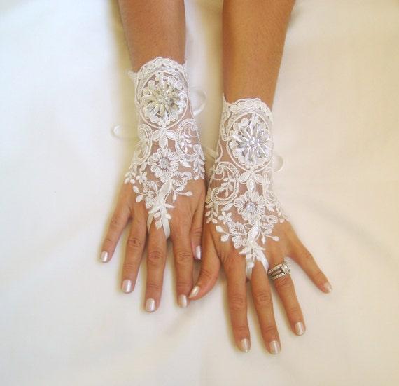 Ivory lace gloves bridal wedding gloves lace gloves fingerless gloves