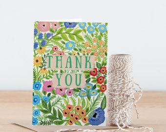 Thank You Card | Wildflower lllustrated Floral Pattern Greeting Card | Thanks | Thank You | Floral Card | Flower Pattern | A6 Greeting Card