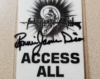 Original  Signed Ronnie Jame Dio Access Laminated Pass Hear n Aid Benefit Concert 1985 HTF