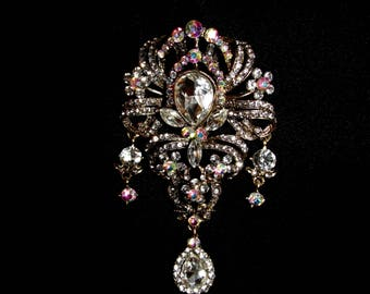 Statement Brooch, Aurora Borealis Rhinestones, Clear stones that reflect all colors of the rainbow when hit by light. Amazing Statement!