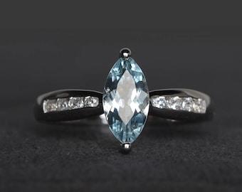 natural aquamarine ring aquamarine anniversary ring March birthstone marquise cut blue gemstone sterling silver ring