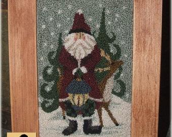 Deer Ole Santa Punchneedle Pattern Needle Punch
