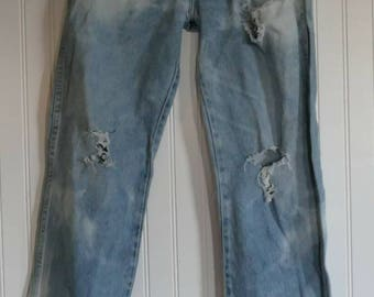Vintage Light Colored Wranglers Bleach Dyed and Distressed W31 L32