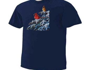 WINTER CARDINALS Refuge Snowy Branches Winter Holiday T-Shirt