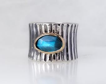 Blue Labradorite Stone Ring , Fused Ring, One of a kind, Handmade, Blue stone,