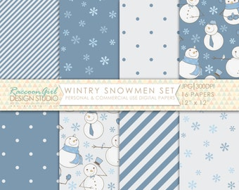 CLEARANCE Wintry Snowmen Digital Paper Set - Personal & Commercial Use