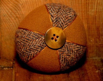 Round Brown and Black/Brown Herringbone Two-Wool Pincushion with Uniquely Thick Button
