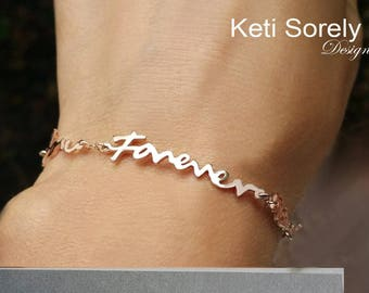 Handwriting Message Bracelet in Yellow Gold, Rose Gold, White Gold or Sterling Silver - Signature Bracelet, Memorial Bracelet.
