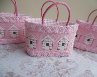 one inch scale beach bag - pretty in pink