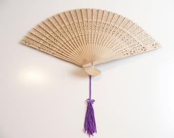 Folding Fan Made From Wood With Delicate Peekaboo Design + Purple Tassel
