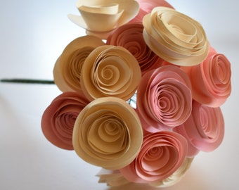 Blush Pink Wedding Bouquet, Stemmed Paper Flowers