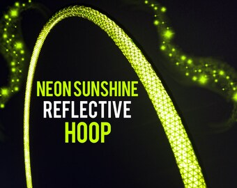 "Neon Sunshine Reflective HDPE or Polypro 5/8"" 3/4"" Dance & Exercise Hula Hoop - NOT an LED hoop uv yellow"