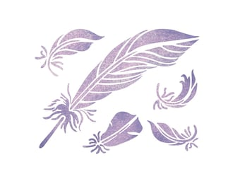 Feathers Stencil Reusable Stencils for DIY Home decor Craft and more