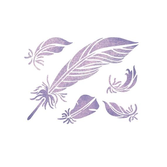 Bohemian Feather Wall Stencil Reusable Stencils For Home: Feathers Stencil Reusable Stencils For DIY Home Decor Craft