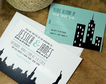 City Wedding Invitation - New York City - NYC - skyline - PRINTABLE