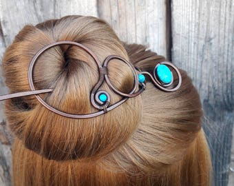 Large Turquoise Hair Barrette Copper Hair Slide Hair Pin Stick Hand Forged Wire Wrapped Jewelry Wire Work Handmade Womens gift for her