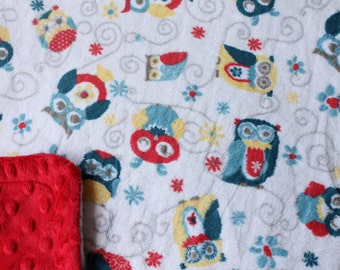 Minky Blanket Blue Red and Yellow Owl Print Minky with Red Dimple Dot Minky Backing - Perfect Size a Toddler 36 x 42 LAST ONE AVAILABLE