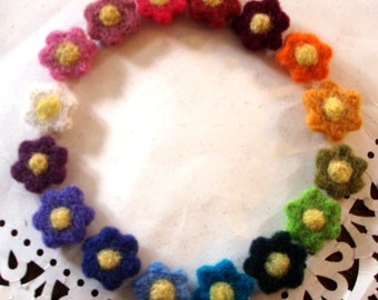 Felt Flowers - Tiny Needle Felted Wool Flowers - Set 1 of 3 - Colorful Rainbow Assortment - Small Fiber Art Floral Needlefelted Appliques